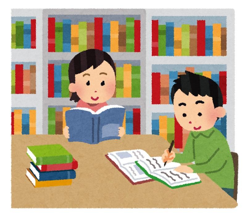 図書館で物語を読む子どもと、本を使って調べる子ども